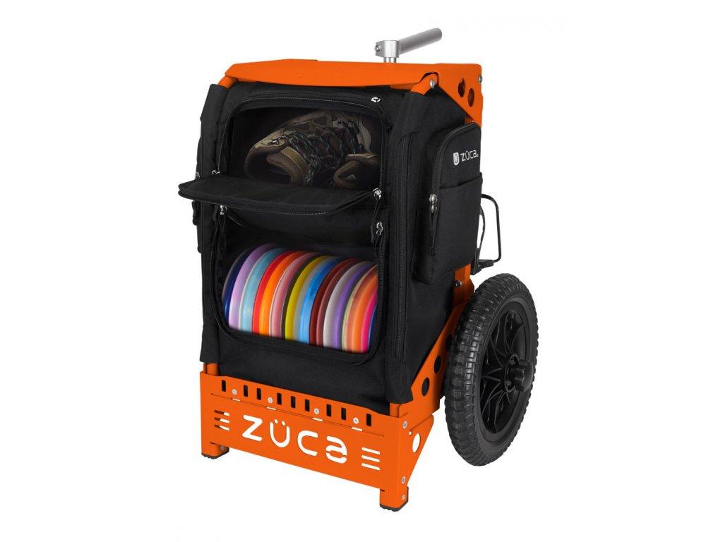 zueca trekker disc golf cart black orange