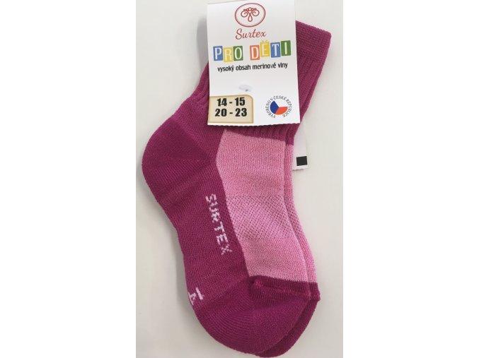 Surtex merino ponožky - aerobic růžové (Velikost 34-35)