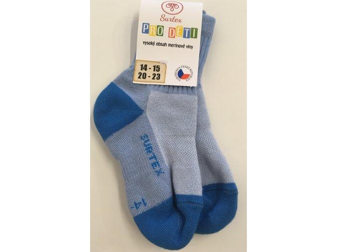 Surtex merino ponožky - aerobic světle modré (Velikost 34-35)