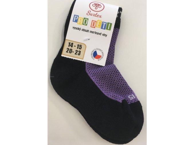Surtex merino ponožky - froté fialové (Velikost 34-35)