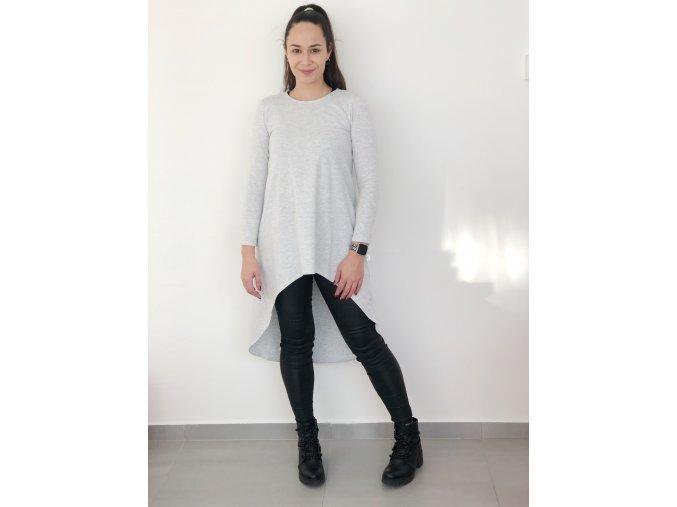 prodloužené tričko s dlouhým rukávem šedé
