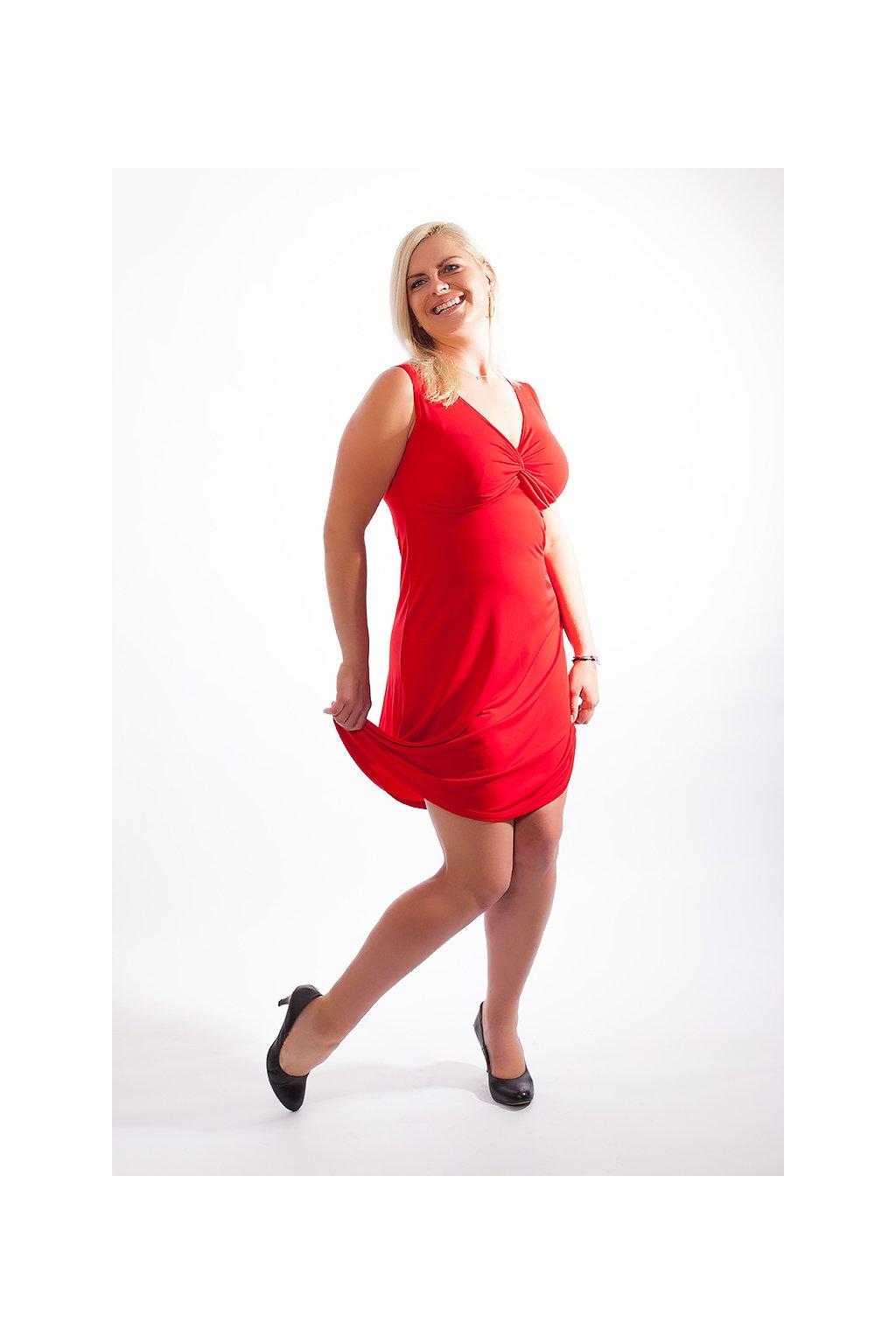 Klasické šaty Alexa ZURI s hlubokým výstřihem bez rukávů červené