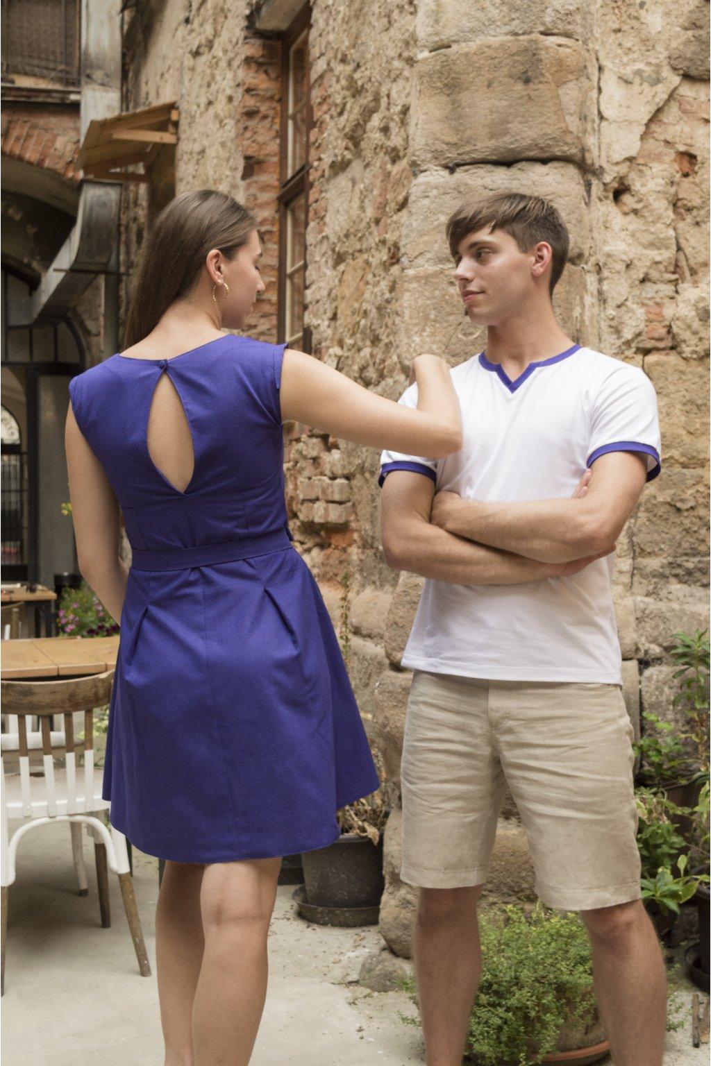 Dámské lněné šaty fialové 2