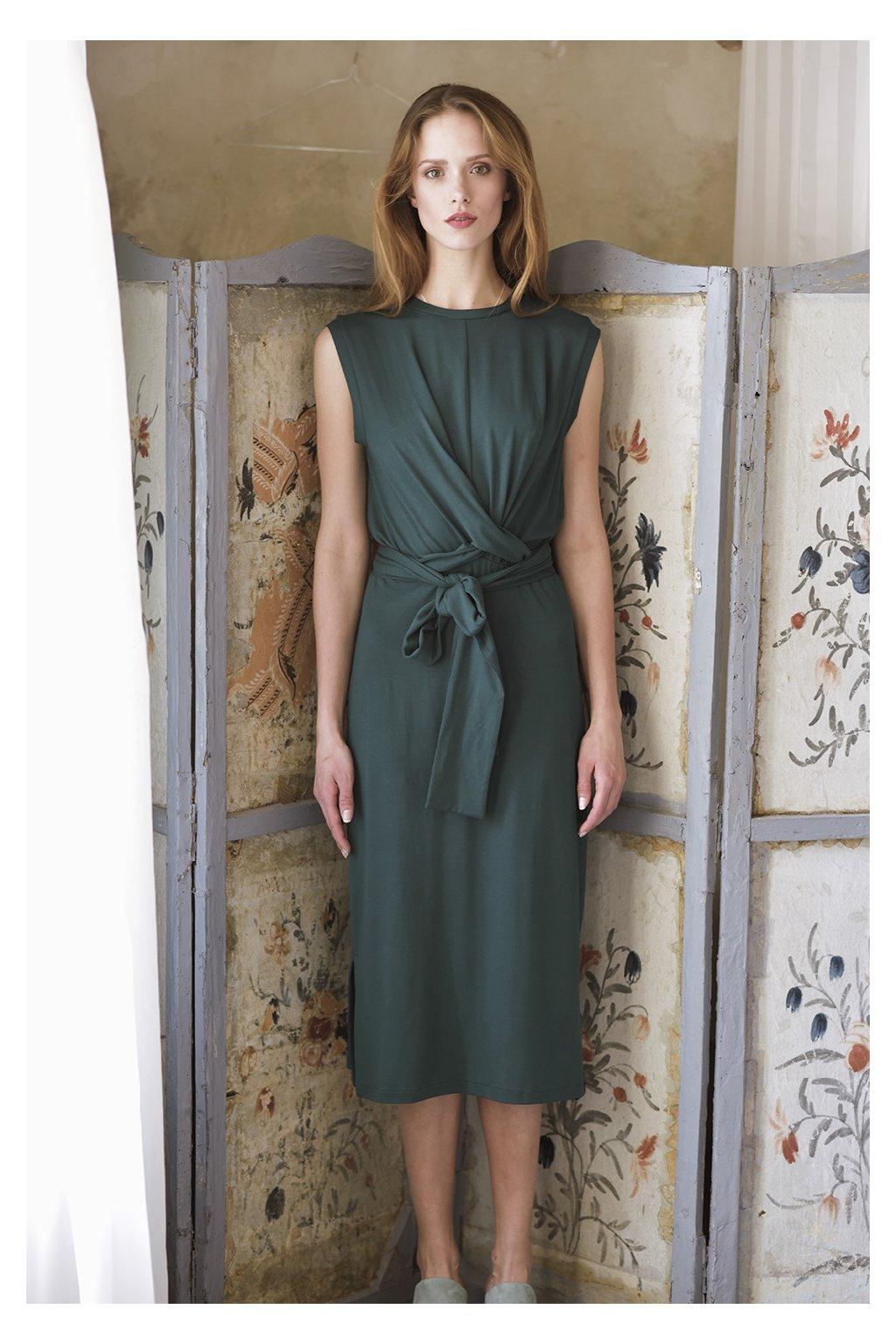 Zavinovací šaty MIK bez rukávů tmavě zelené 1