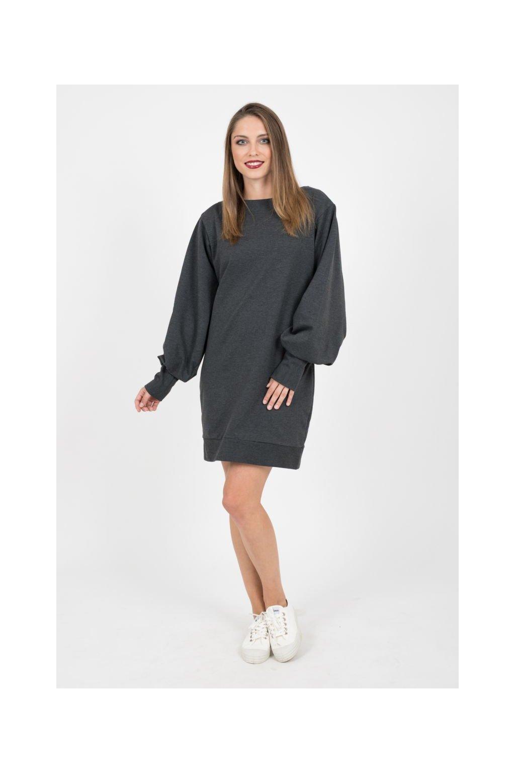 Tepláková šaty tmavě šedé 3