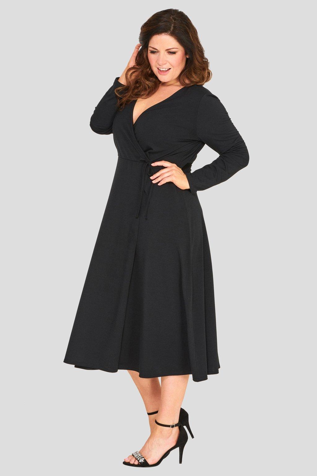 Krásné šaty Thought áčkového střihu černé 1