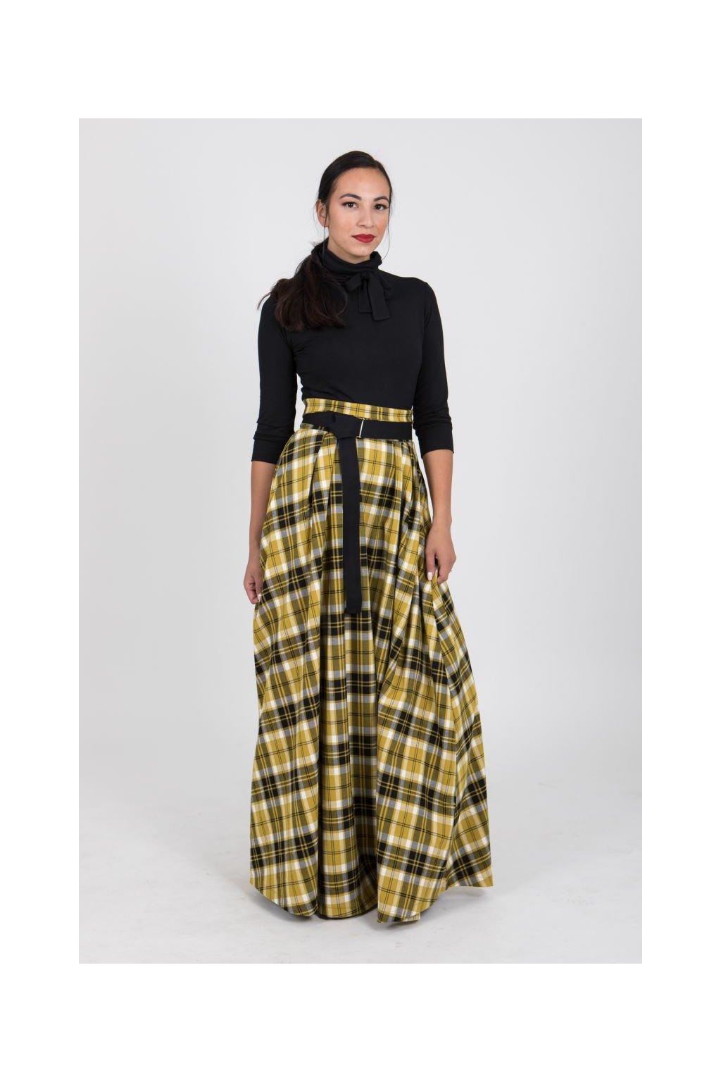 Maxi károvaná sukně žlutá