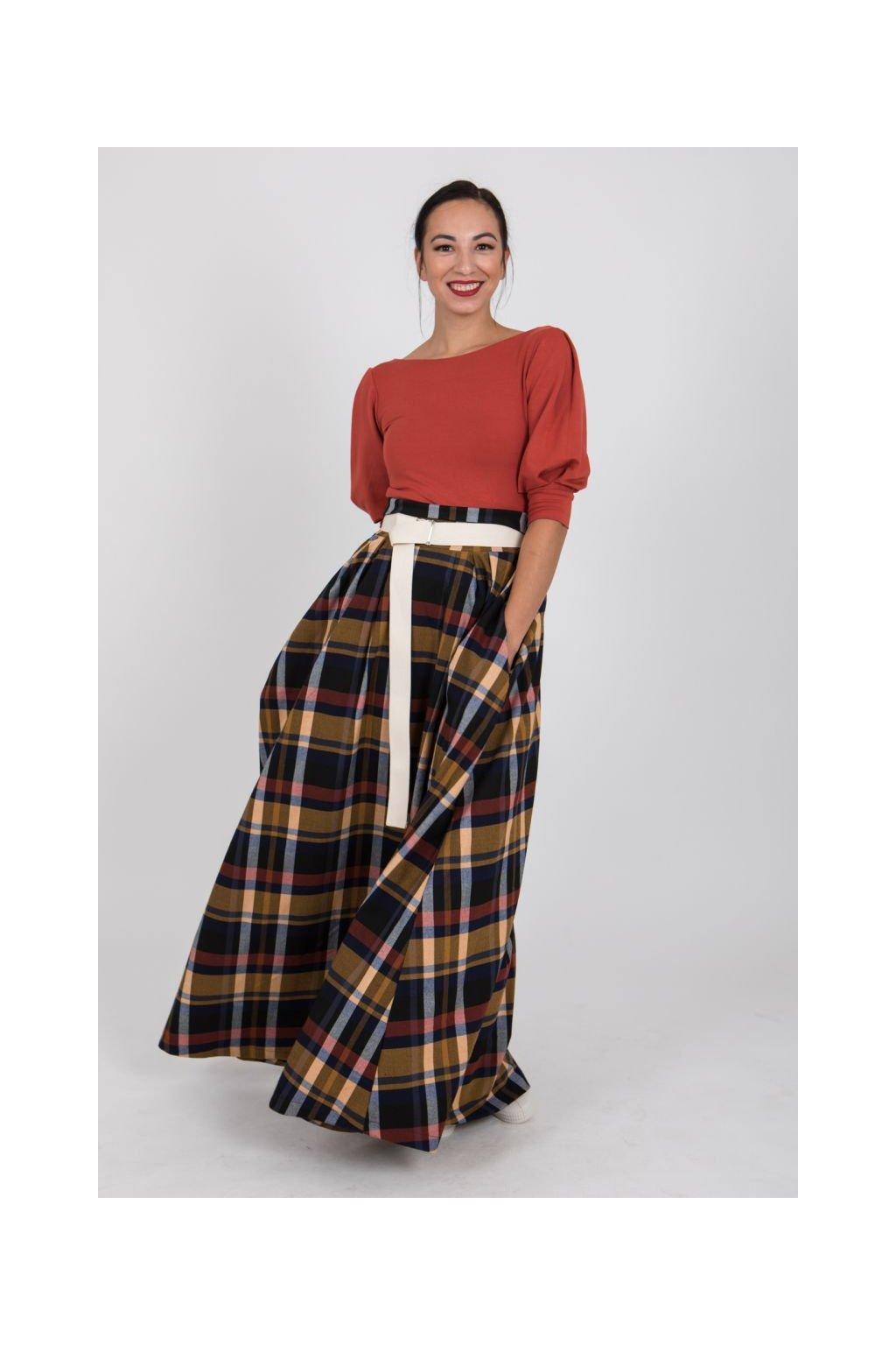 Maxi károvaná sukně žluto vínová 5