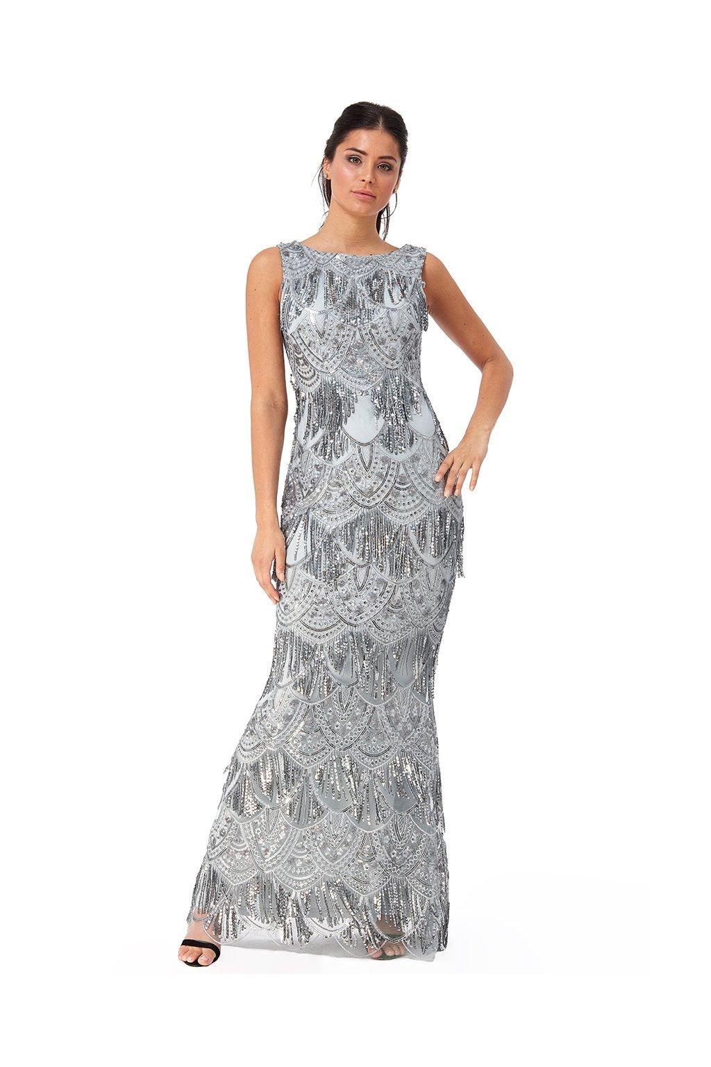 Dlouhé společenské šaty Lucy stříbrné