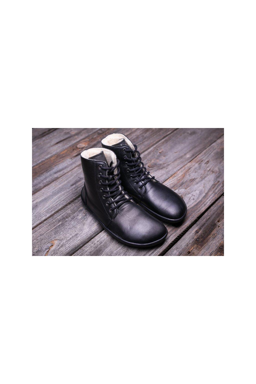 Barefoot kotnikova obuv Winter cerne