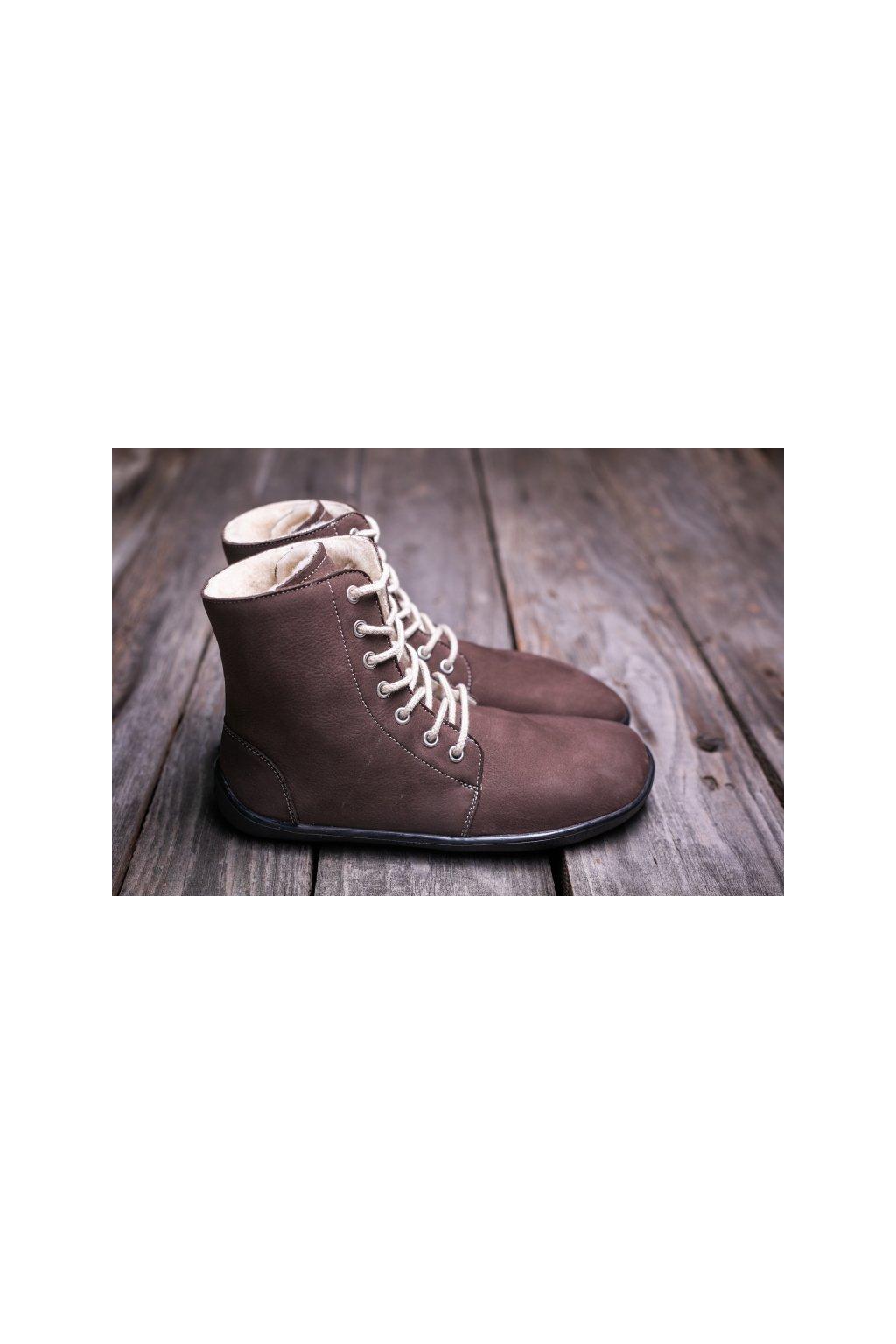 Barefoot kotnikova obuv Winter cokoladova 2
