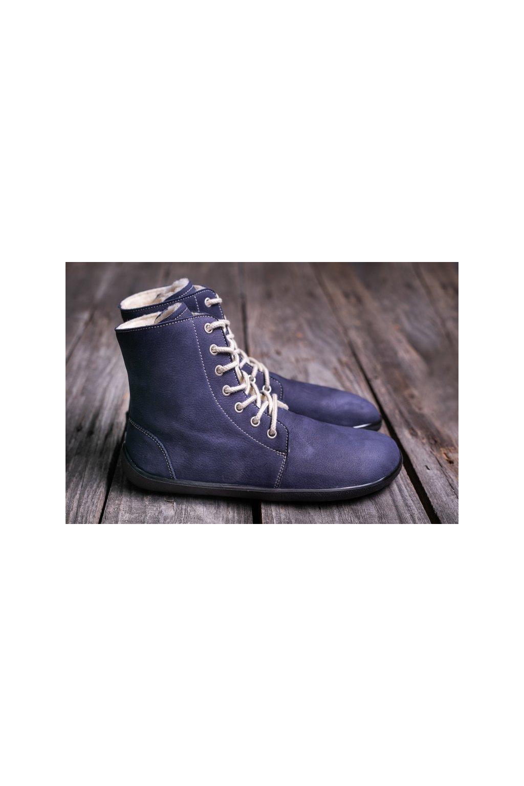 Barefoot kotnikova obuv Winter marine 1