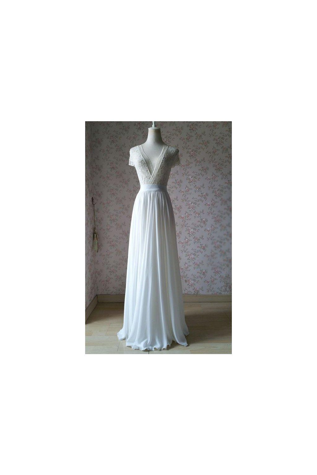 Dlouhá svatební bílá šifonová sukně Love