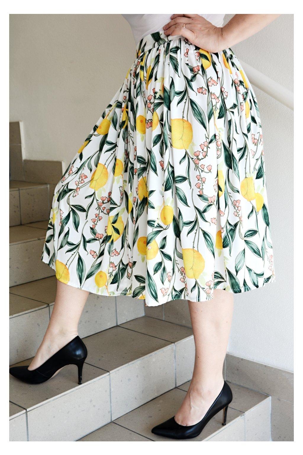 Hedvábná sukně Roma se vzorem citrónů 7