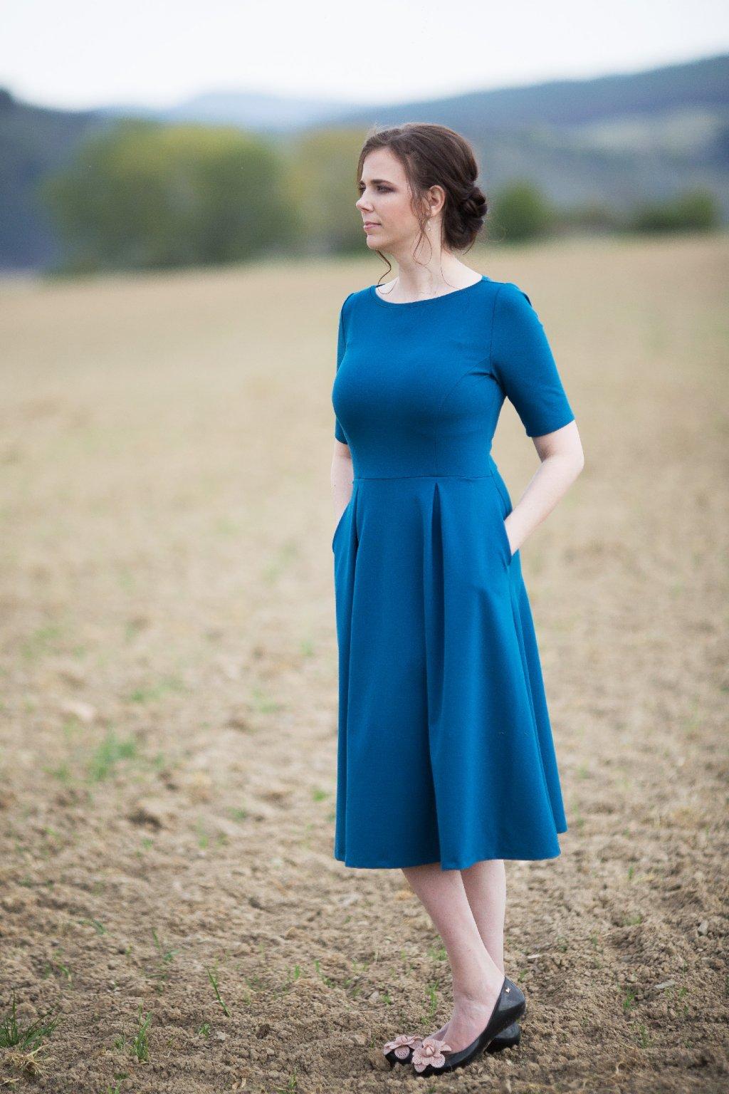 Dámské šaty Paola Bellazu petrolejové 5