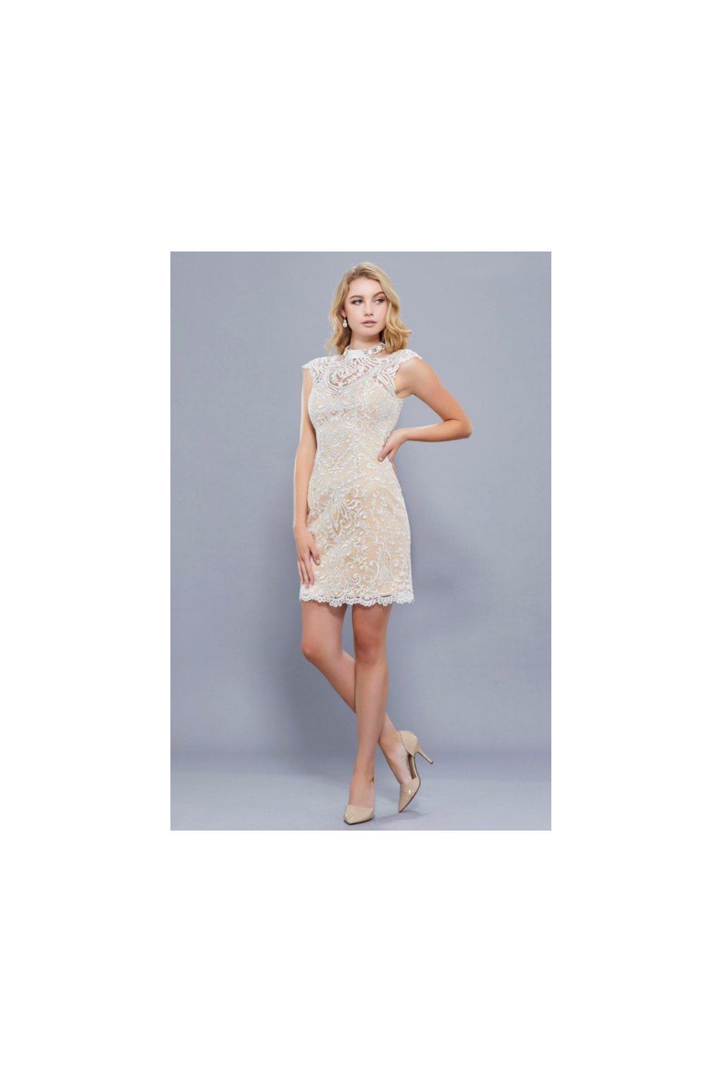 Krátké krajkové šaty Lucy šampaň 1