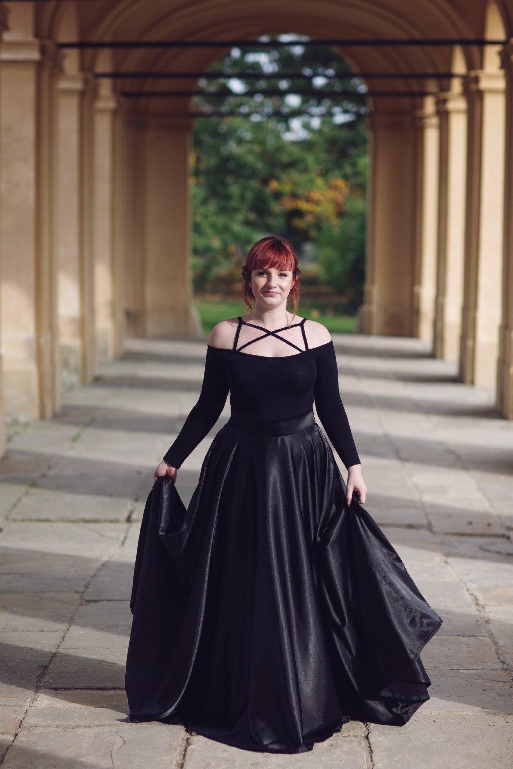 Saténová dlouhá sukně Rosie černá 2
