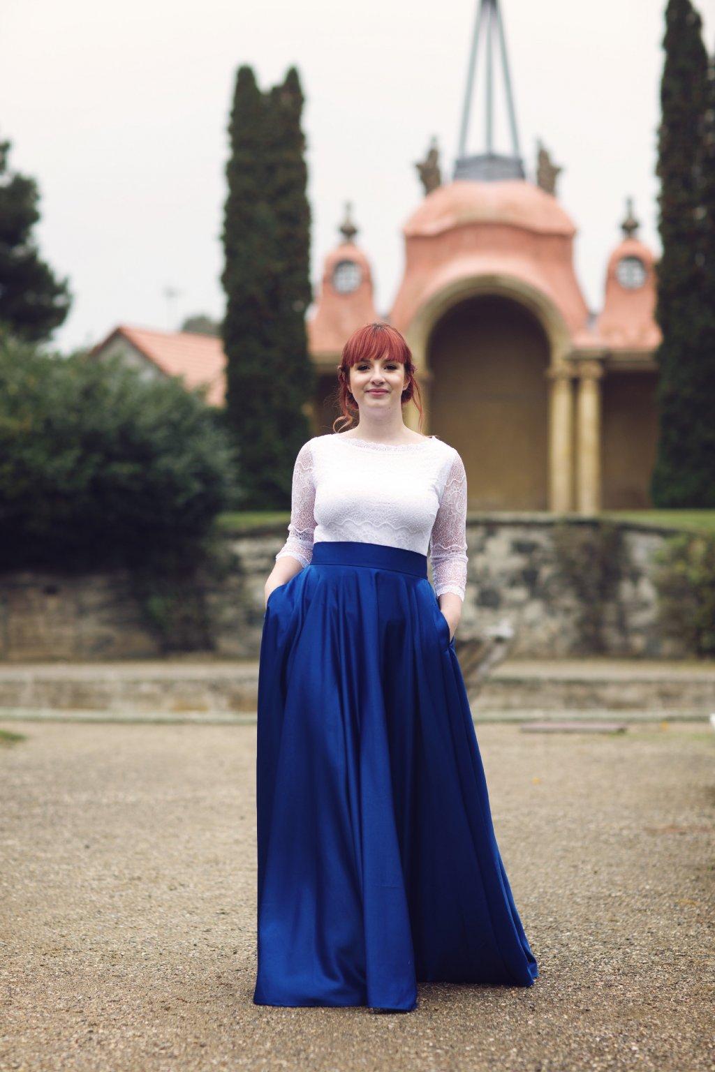 Saténová dlouhá sukně Rosie královská modrá 2