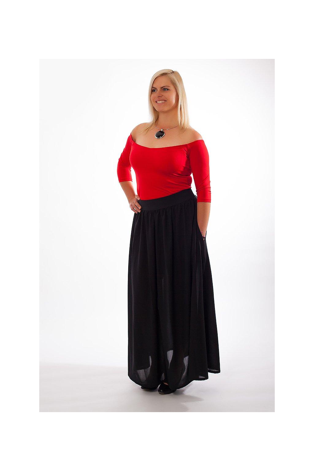Dlouhá černá sukně Chloe ZURI s kapsami 6