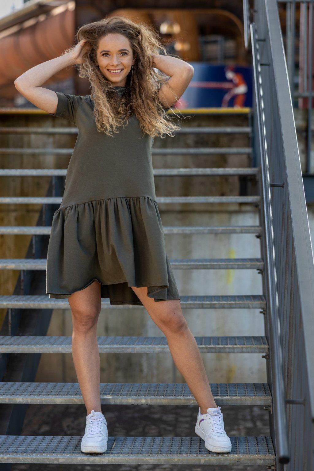 Volánkové šaty Diana khaki