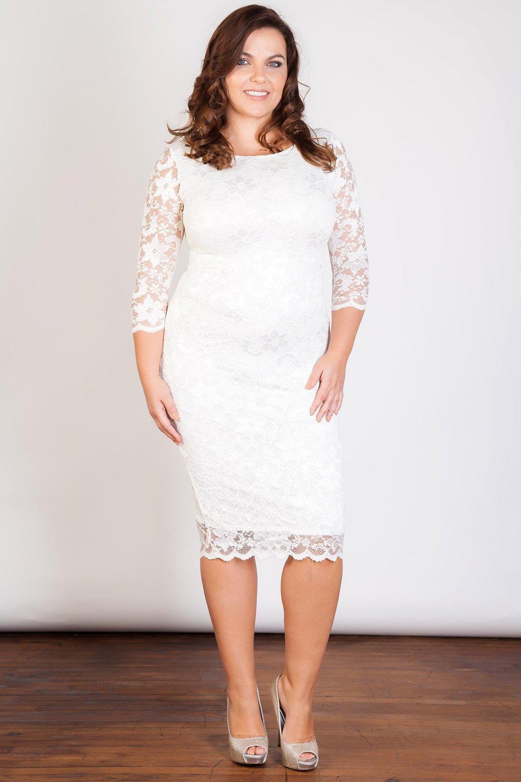 Krajkové šaty pouzdrového střihu bílé