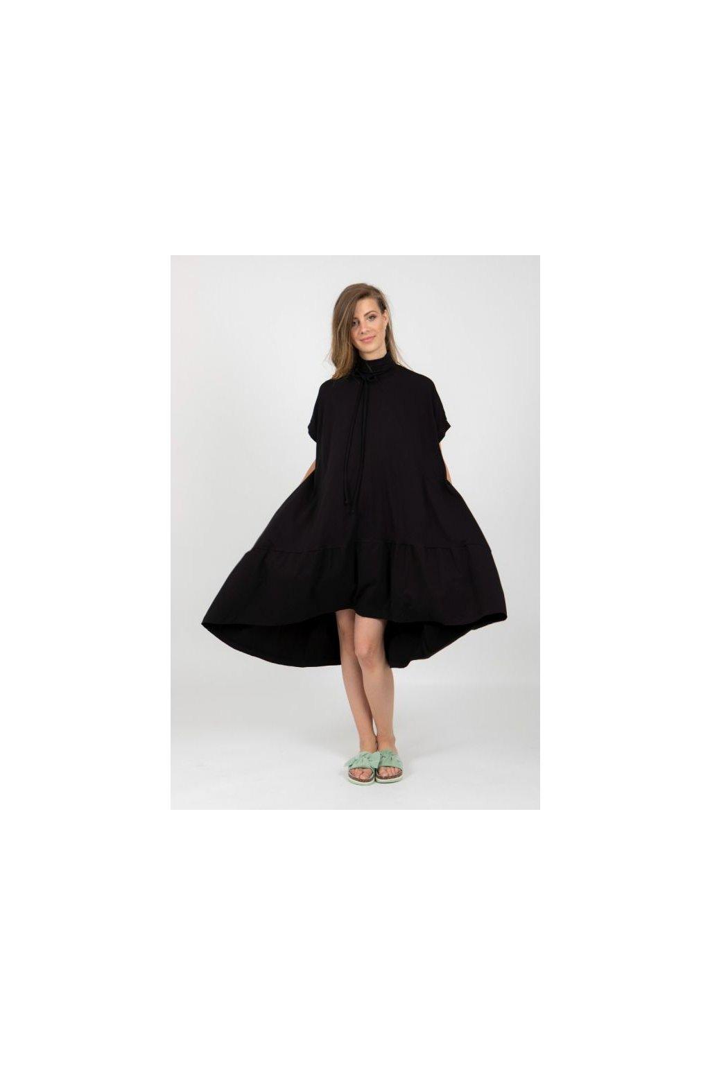 Univerzální úpletová oversize šaty černé 5