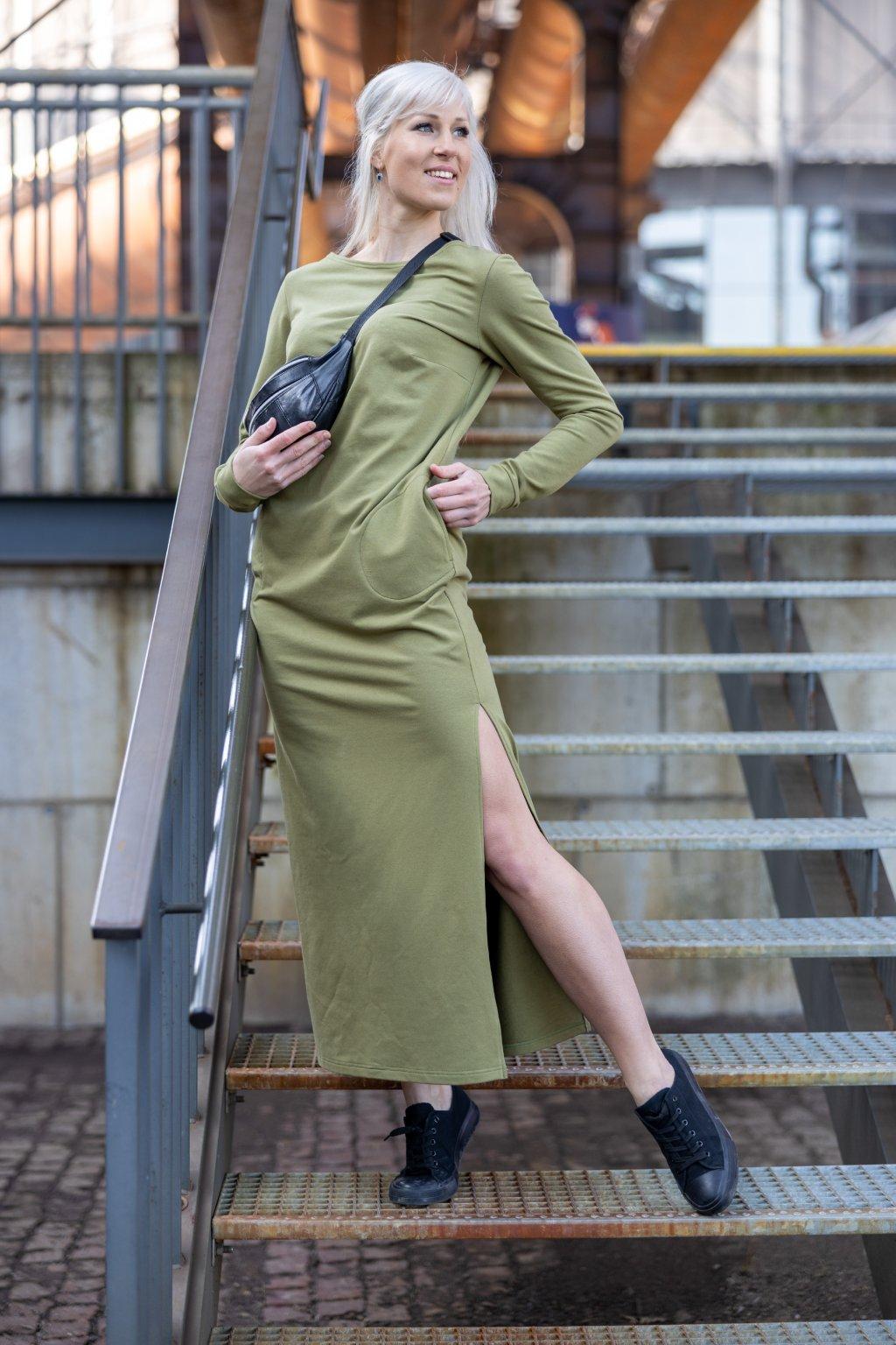 Maxi šaty oliva