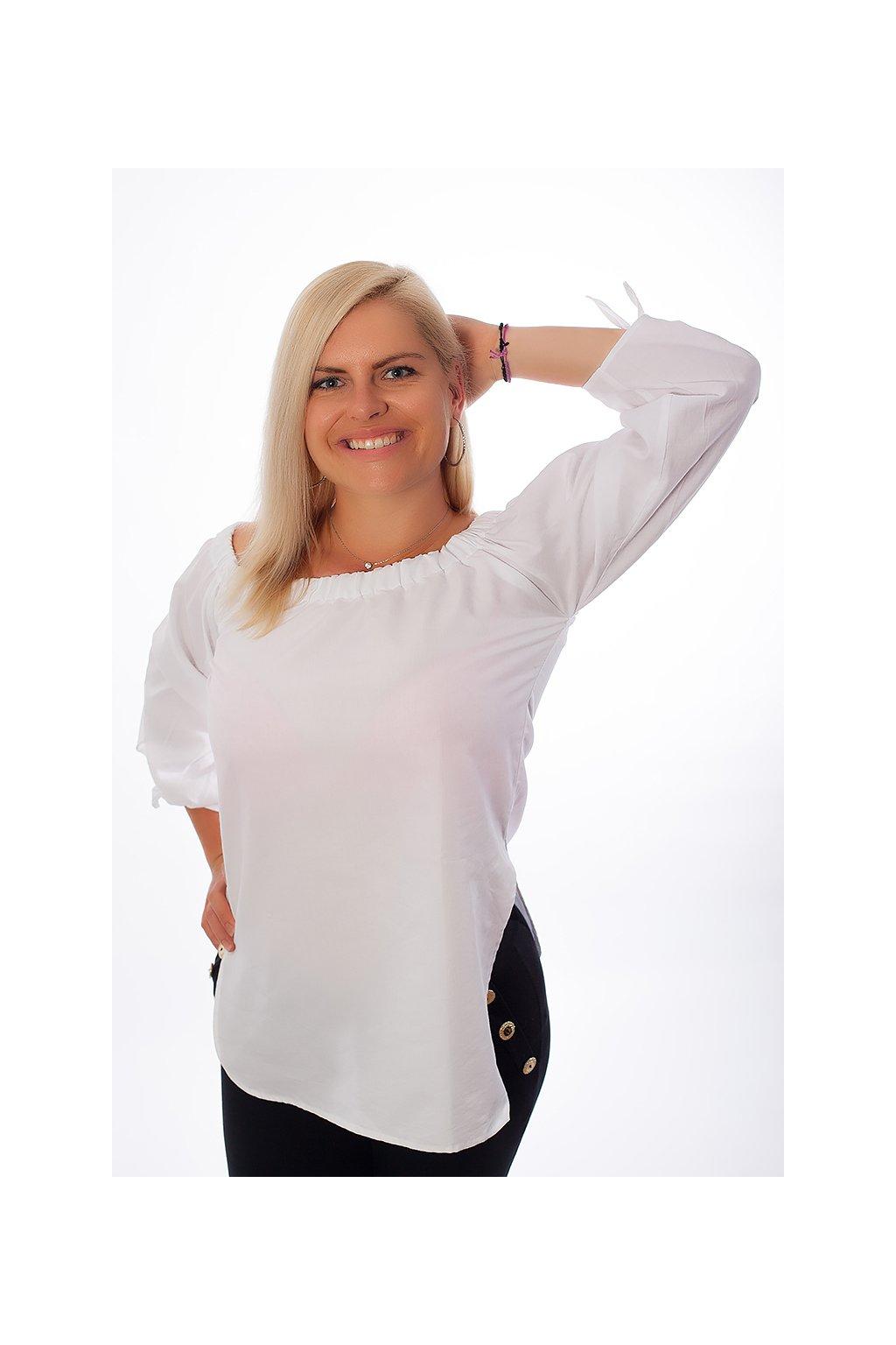 Košilová plátěná halenka Jess ZURI s uzly bílá 4