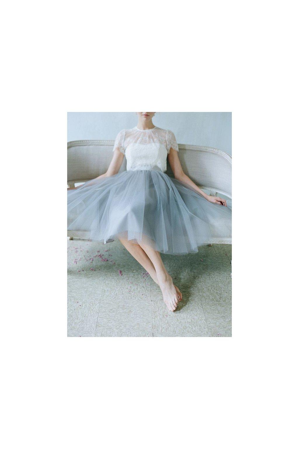 Tylová sukně Bellazu šedá