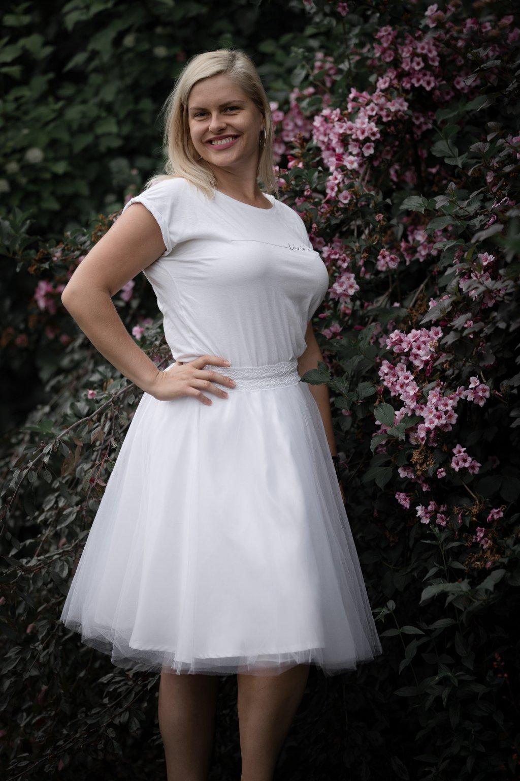 Tylová sukně Abagail ZURI bílá 1