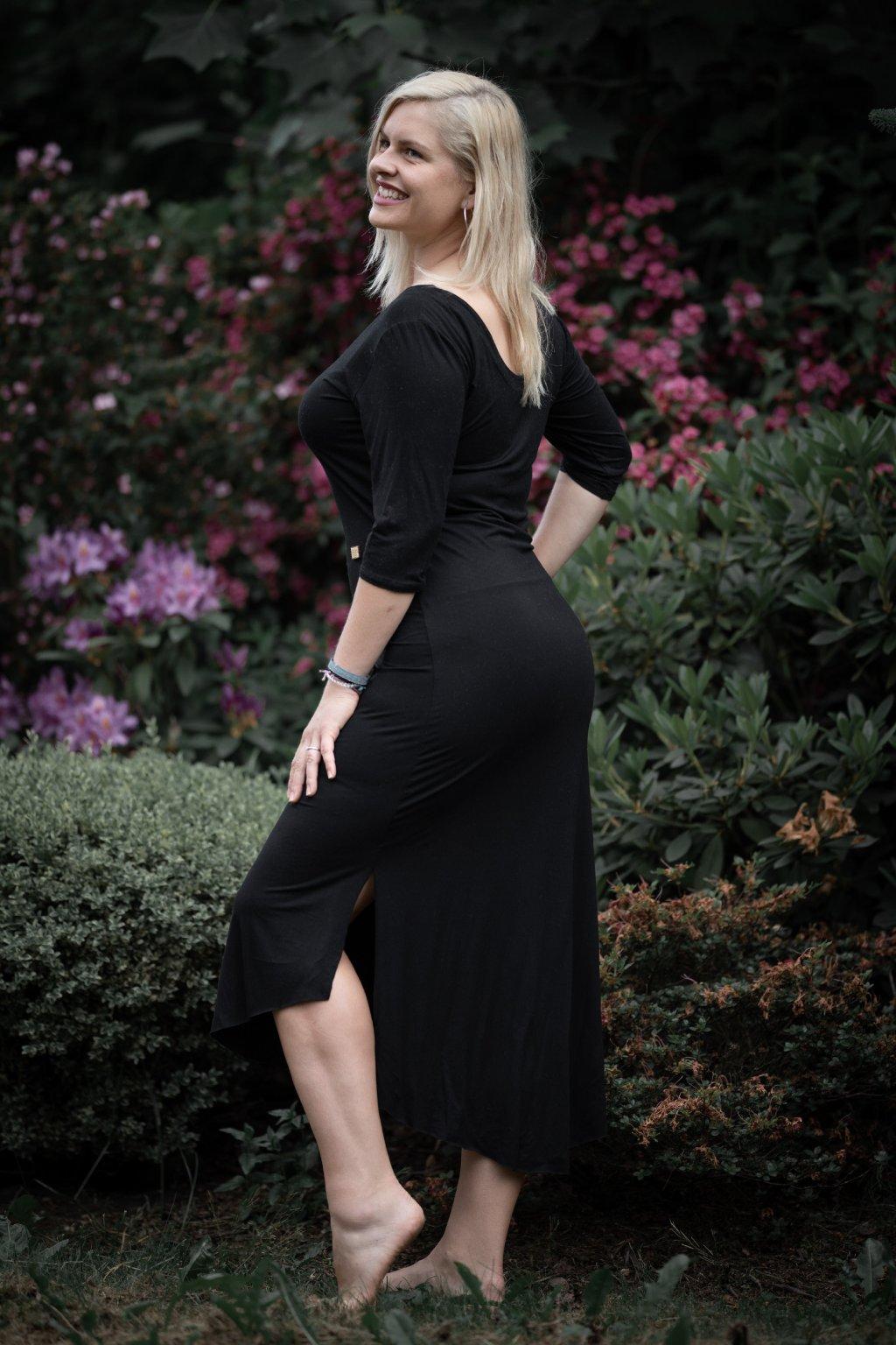 Letní šaty s třičtvrtečním rukávem černé 2