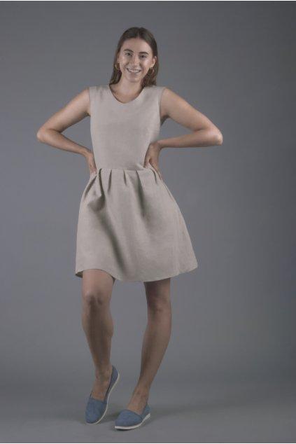 Dámské lněné šaty přírodní 1