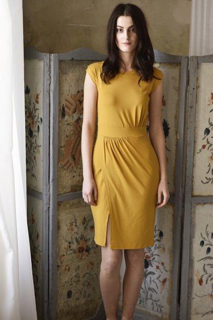 Dámské šaty MIK s asymetrickým řasením hořčičné
