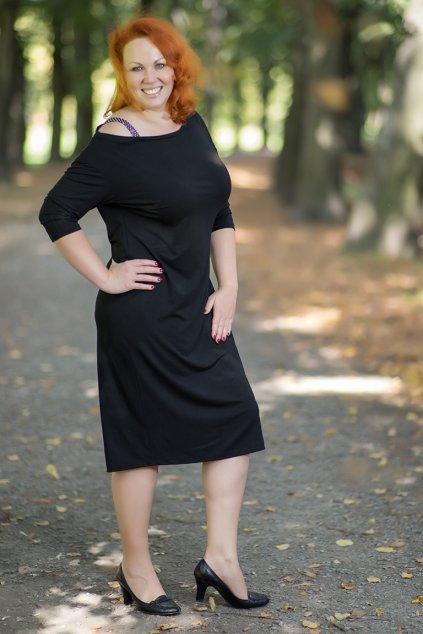 Šaty Ryan ZURI s měděným ramínkem černé 15