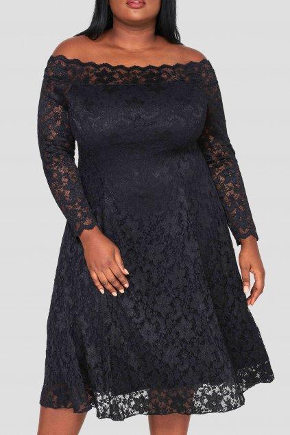 Krajkové šaty Elevate s rukávem černé 3