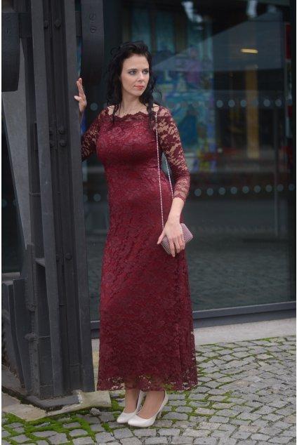 Krajkové šaty Oasis vínové