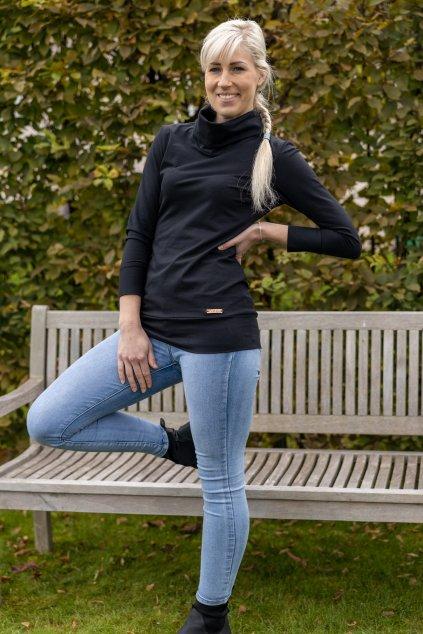 Rolákové tričko černé
