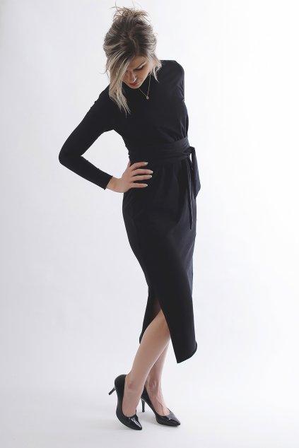 Zavinovací černé šaty Wrap Dress 3