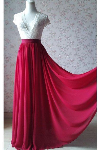 Dlouhá šifonová sukně Love fuchsiová