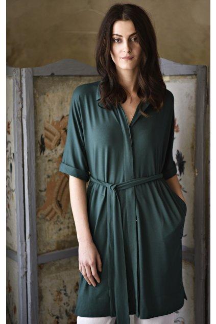Košilové celopropínací šaty MIK tmavě zelené 1