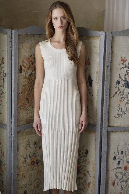 Elegantní úpletové šaty plisé MIK smetanové 2