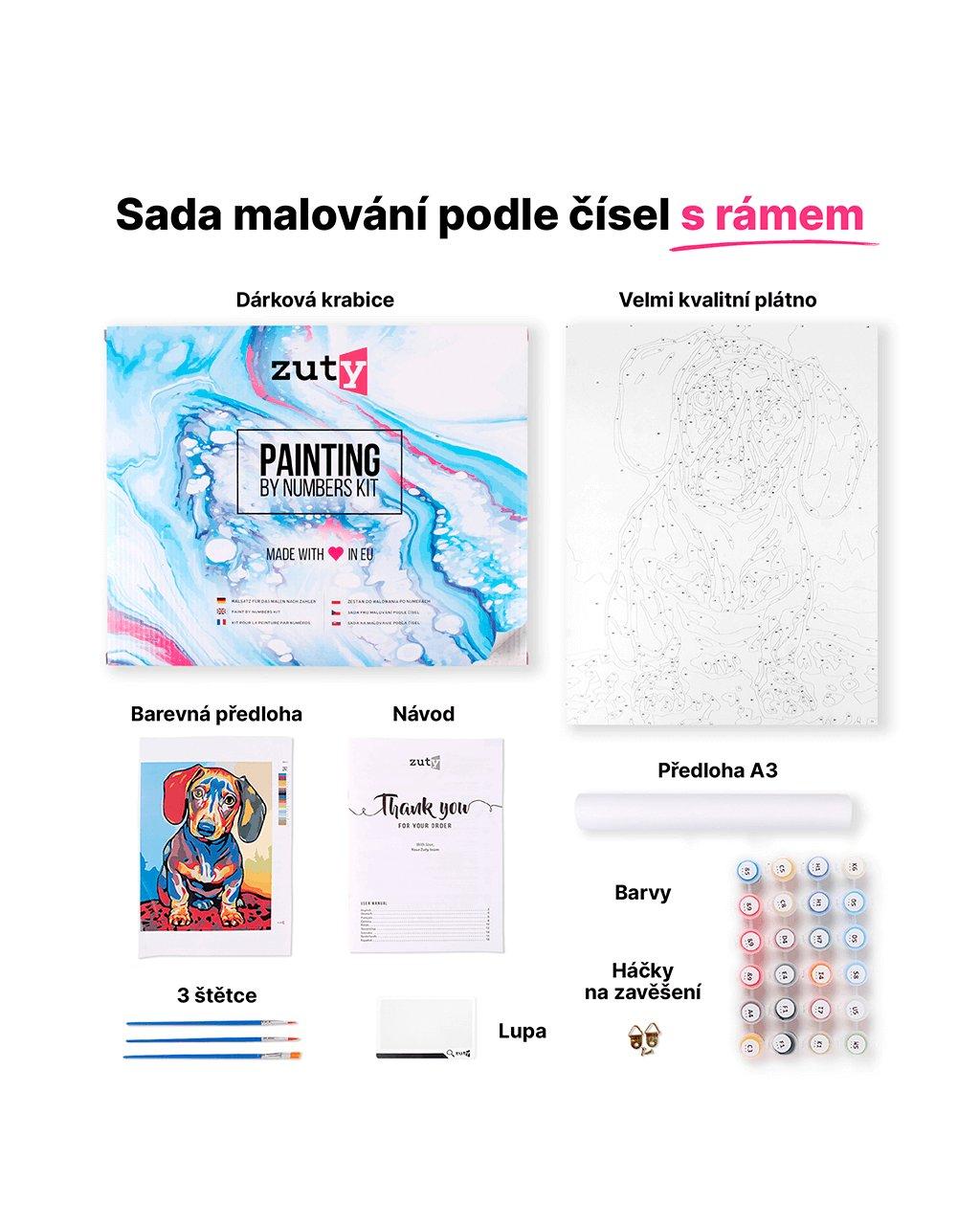 Malování podle čísel - SLUNEČNICE VE VÁZE
