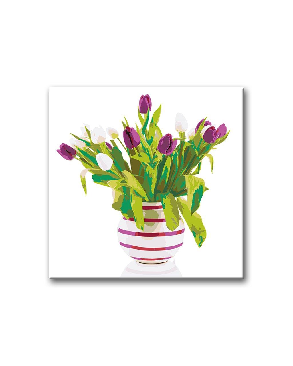 Tulipány vpruhované váze