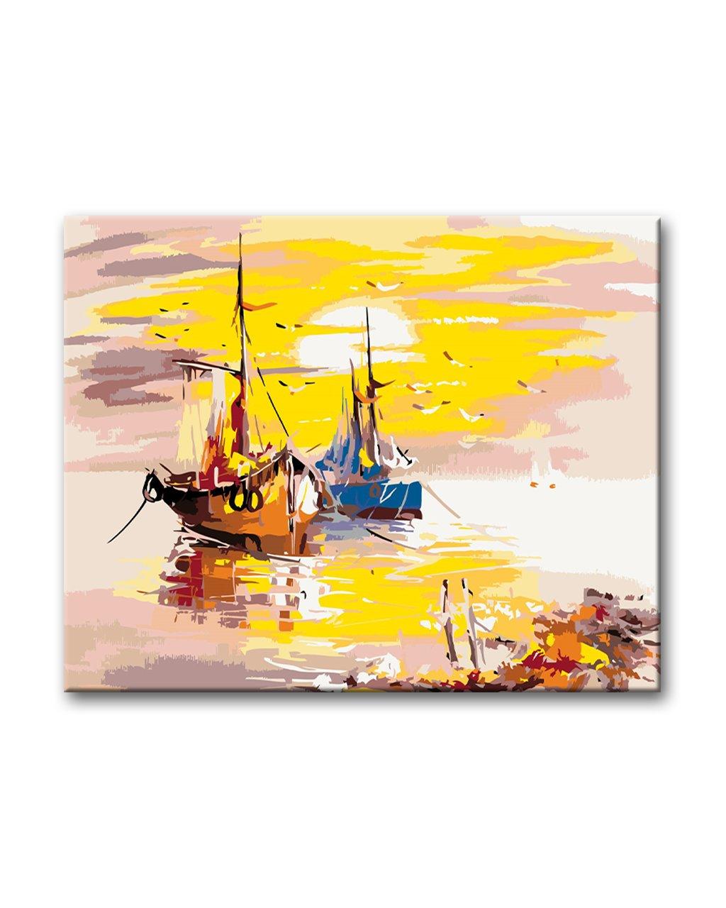 Loďky při západu slunce