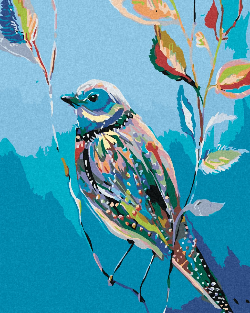 Malování podle čísel - MALOVANÝ PTÁČEK