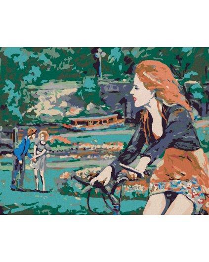 Malování podle čísel - ŽENA NA KOLE V PARKU
