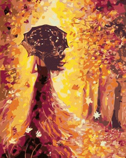 Malování podle čísel - ŽENA S DEŠTNÍKEM