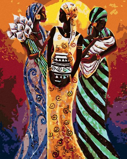 Malování podle čísel - TŘI AFRICKÉ ŽENY