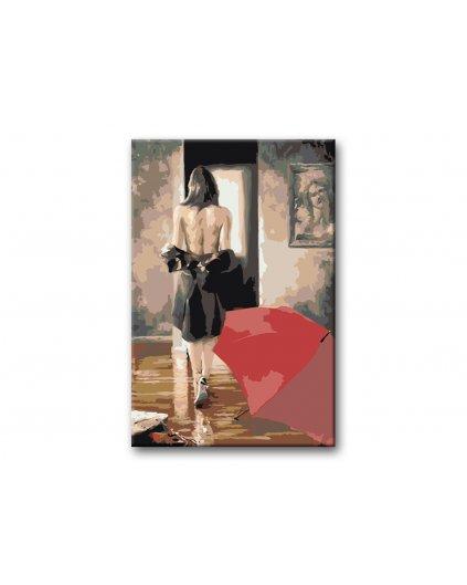 Malování podle čísel - SVLÉKAJÍCÍ SE ŽENA A ODLOŽENÝ DEŠTNÍK