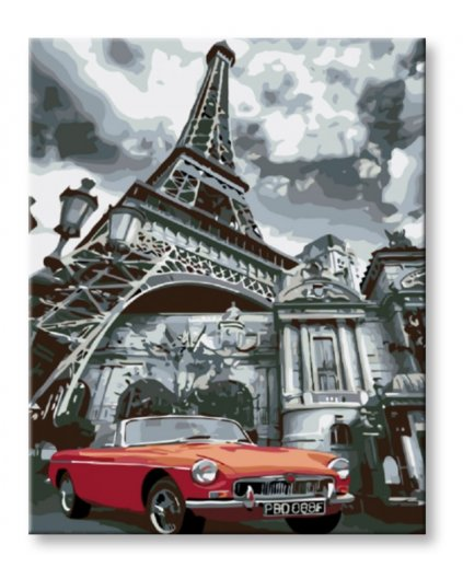 Malování podle čísel - ČERVENÉ CABRIO V PAŘÍŽI